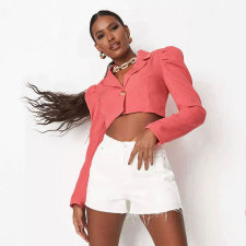 Solid Full Puff Sleeve Short Blazer Coat SH-390194