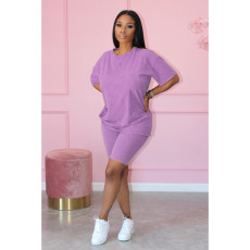 Solid Color Casual T-shirt And Shorts Two Piece Sets MIL-L225