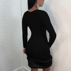 Sexy Black Patchwork Long Sleeve Bodycon Mini Dress TE-4320
