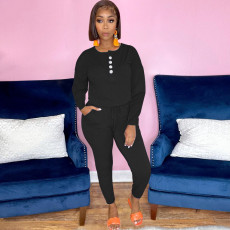 Casual Solid Long Sleeve One-Piece Jumpsuit OXF-8089