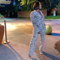 Casual Printed Blouse And Pants 2 Piece Suits MEM-88385