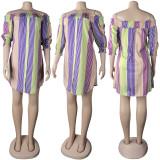 Fashion One Word Collar Print Mini Dress NY-2145