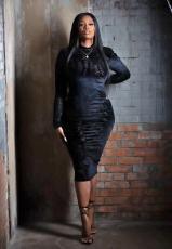 Black Long Sleeve Slim Midi Dress WAF-77243