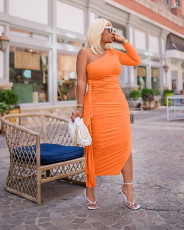 Sexy Solid One Shoulder Ruffled Split Long Dress BLX-8227