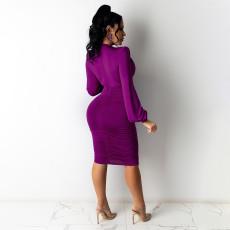 Sexy Solid V Neck Long Sleeve Bodycon Dress HNIF-HN016