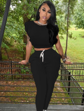 Casual Solid Short Sleeve Two Piece Pants Set SNIF-568042