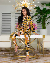 Casual Printed Long Sleeve Blouse And Pants 2 Piece Suits QZX-6228
