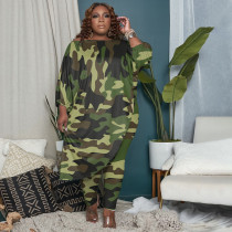 Plus Size Camo Print 3/4 Sleeve Irregular Top And Pants 2 Piece Suits QSF-51035