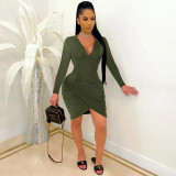 Sexy Solid V Neck Ruched Long Sleeve Bodycon Dress MZ-2660