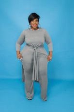 Plus Size Solid Long Sleeve Split Top And Pants 2 Piece Suits JRF-3648