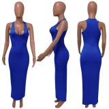 Plus Size Sexy Solid Sleeveless Slim Maxi Dress ME-S812