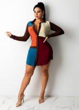 Contrast Color Long Sleeve Shirt Dress PHF-13245