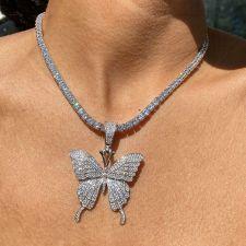 Big Butterfly Pandant Full Rhinestone Necklace Choker BYCF-1035