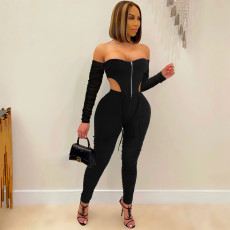 Sexy Mesh Sleeve Off Shoulder Ruched 2 Piece Pants Set MZ-2661