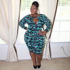 Plus Size Long Sleeve Slim Print Dress YF-5009