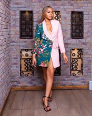 Contrast Color Floral Print V Neck Full Sleeve Blazer Coat JPF-1052