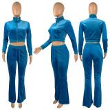 Solid Velvet Long Sleeve Zipper Top Flared Pants 2 Piece Sets CH-8191