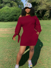 Plus Size Solid Long Sleeve Tie-Knotted Mini Dress SHA-86266