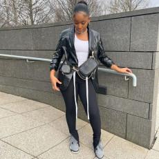 Black Leather Full Sleeve Pocket Coat YNB-7215