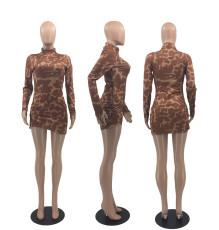 Sexy Printed Turtleneck Long Sleeve Mini Dress DSF-88046