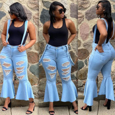 Denim Ripped Hole Straps Flared Jeans ORY-5154-1