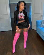 Lip Print Hoodie Top Mini Skirt Two Piece Sets YUF-9086