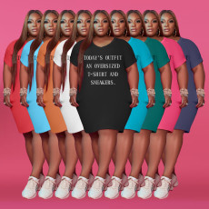 Plus Size Letter Print Short Sleeve T Shirt Dress OYF-WAF-77268