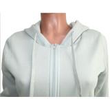 Solid Plush Hooded Zipper Two Piece Pants Set SH-390004