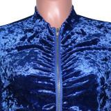 Solid Velvet Ruched Long Sleeve Split Pants 2 Piece Suits SH-390070