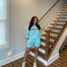 Cartton Print Sweatshirt And Shorts 2 Piece Suits ZNF-9109