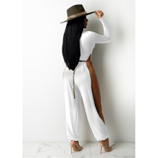 Sexy High Split Bare Legs Long Sleeve Club Jumpsuit (Without Belt) IV-8248