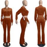 Solid Velvet Long Sleeve Zipper 2 Piece Pants Set FSL-F171
