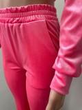 Solid Velvet Hooded Zipper Long Sleeve Flared Pants 2 Piece Sets NIK-264