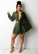 Solid Blouse Top Pleated Mini Skirt 2 Piece Sets (Without Belt) CM-2153