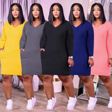 Plus Size Solid V Neck Long Sleeve Mini Dress PHF-13252