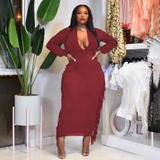 Plus Size Solid Tassel Long Sleeve Maxi Dress YAOF-80053