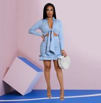 Solid Long Sleeve Ruched Mini Skirt Two Piece Sets ZFF-57817
