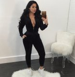 Solid Velvet Hooded Zipper Long Sleeve 2 Piece Suits OY-6310