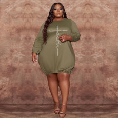 Plus Size Hot Drilling Knee Length Casual Dress WAF-77274