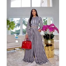 Houndstooth Print Long Sleeve Wide Leg Pants 2 Piece Sets SFY-2139