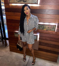 Casual Striped Long Sleeve Blouse Top And Shorts 2 Piece Sets BGN-203