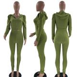 Solid Hooded Zipper Long Sleeve 2 Piece Pants Set MOF-6653