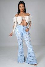 Denim Mid-Waist Hole Flared Jeans Pants LA-3273