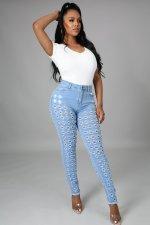 Denim Mid-Waist Hole Skinny Jeans Pants LA-3270