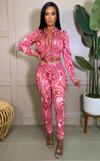 Casual Printed Blouse And Pants 2 Piece Suits (Without Belt) ZSD-0421