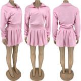 Solid Long Sleeve Pleated Mini Skirt 2 Piece Sets FNN-8632