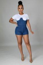 Denim Patchwork Short Sleeve Mini Dress LA-3291