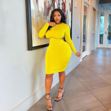 Plus Size Solid Long Sleeve Hollow Bodycon Dress WLDF-80378