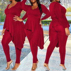 Plus Size Solid Irregular Top And Pants 2 Piece Sets YBSF-86737