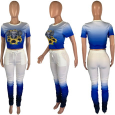 Plus Size Gradient Short Sleeve Stacked Pants 2 Piece Sets MUM-8018